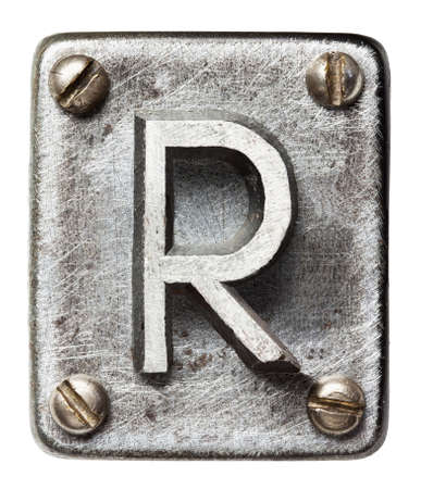 R: Old metal alphabet letter R Stock Photo