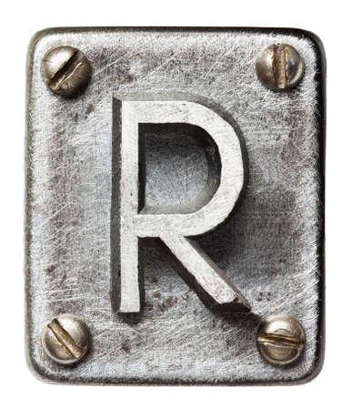 oxidado: Old metal letra del alfabeto R