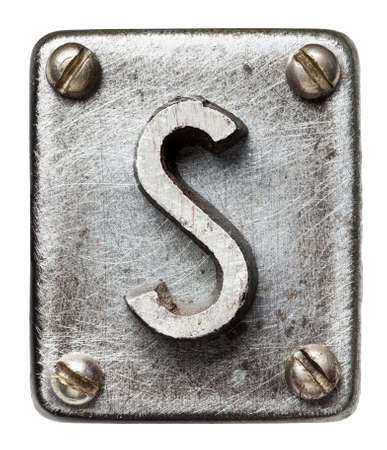 metal sign: Old metal alphabet letter S