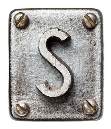 oxidado: Old metal letra del alfabeto S Foto de archivo