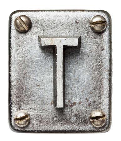 shiny metal: Old metal alphabet letter T