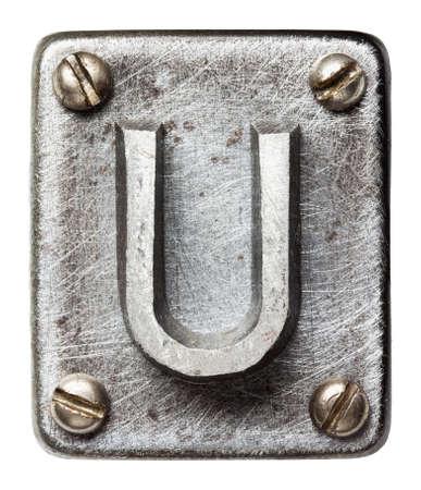 letter u: Old metal alphabet letter U