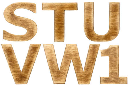 Wooden alphabet letters and number one. photo