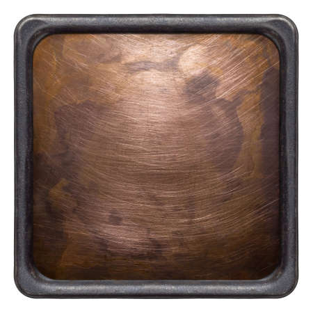 Copper plate texture in a frame  Old metal backgrounds, isolated photo