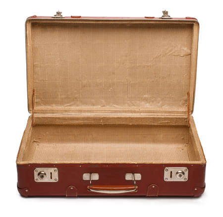 open suitcase: Vintage brown suitcase on white background