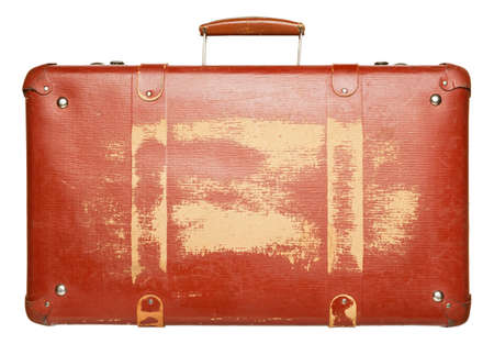 suit case: Vintage red suitcase isolated on white background Stock Photo
