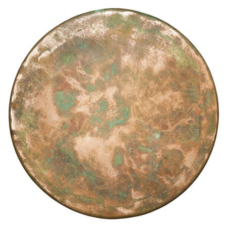 Round copper plate texture, old metal background. photo