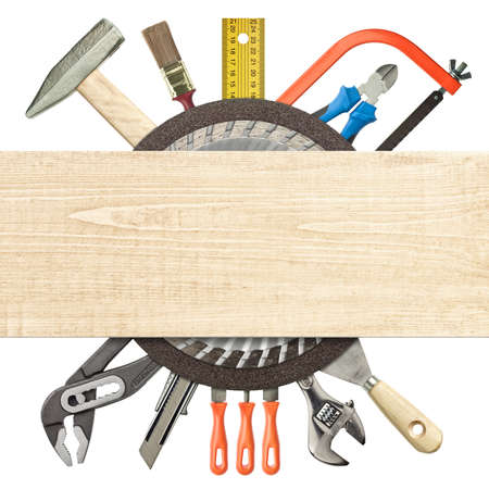 industrial objects equipment: Carpentry, construction collage  Tools underneath wood plank  Stock Photo