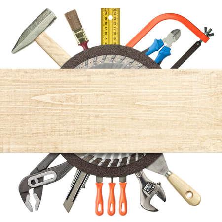 hardware: Carpinter�a, herramientas de construcci�n collage debajo de tablones de madera