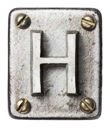 Old metal alphabet letter H
