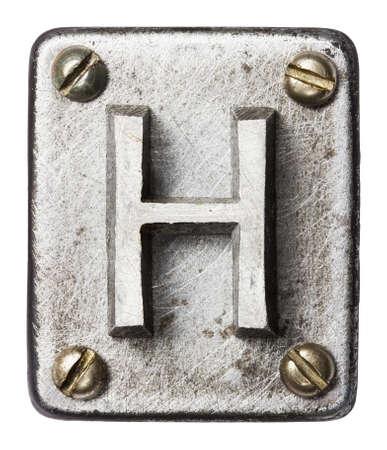 at alphabet: Old metal alphabet letter H