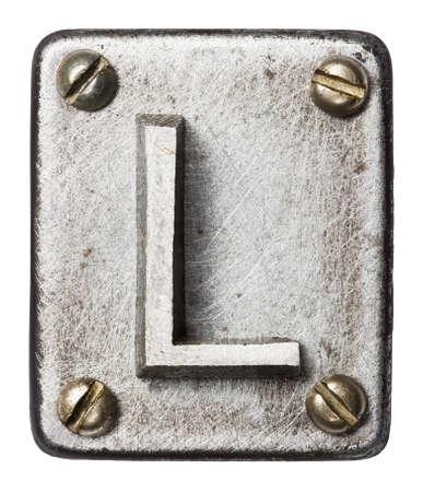tipos de letras: Alfabeto antiguo del metal letra L Foto de archivo