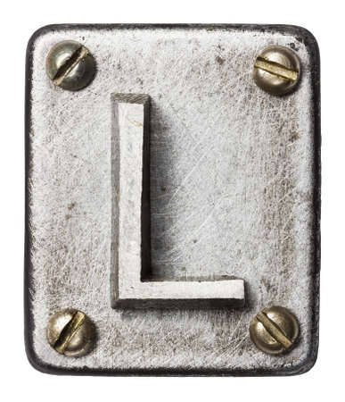 industrial element: Old metal alphabet letter L Stock Photo