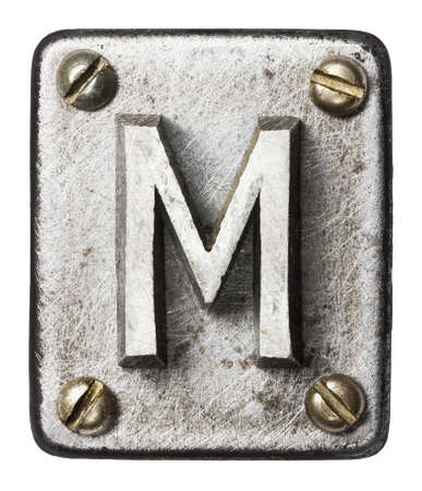 rust': Old metal alphabet letter M