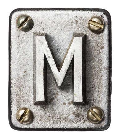 shiny metal background: Old metal alphabet letter M