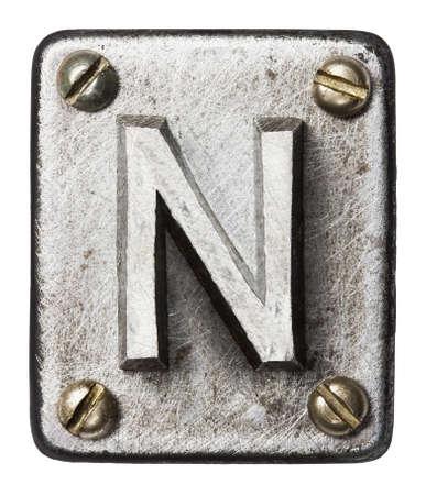 shiny metal: Old metal alphabet letter N