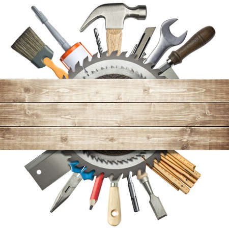 hardware tools: Carpentry, construction collage  Tools underneath wooden planks  Stock Photo