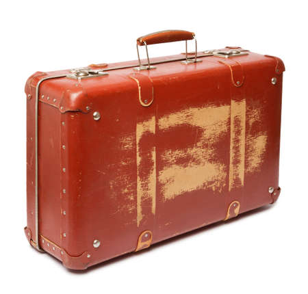 antique suitcase: Vintage red suitcase on white background