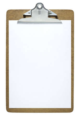 Clipboard with a blank sheet of paper isolated on white background  Stock Photo