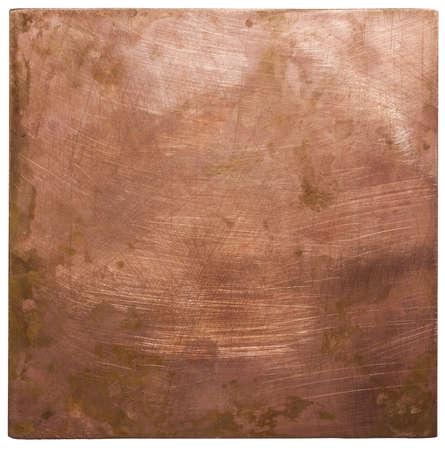 Texture plaque de cuivre, fond vieux métal. Banque d'images