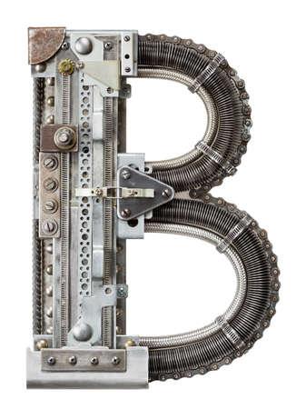 screws: Industrial metal alphabet letter B