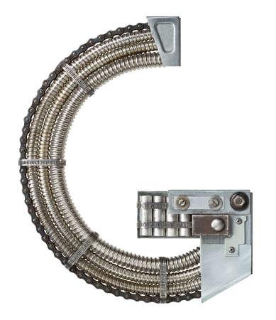 g: Industrial metal alphabet letter G