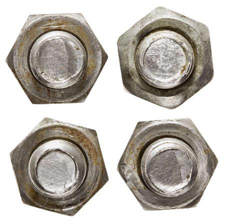 tuercas y tornillos: Tornillos aislados en blanco. Foto de archivo