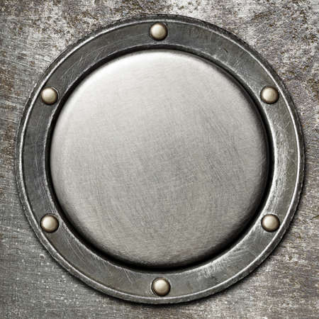 rivet metal: Designed round metal background, texture Stock Photo