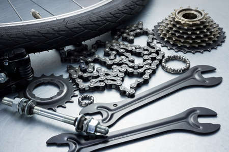Bike repairing  Spare parts and tools  photo