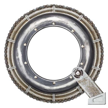 q: Industrial Metal alfabeto lettera Q