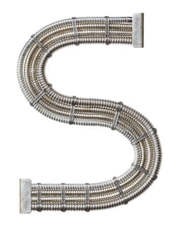metal pipe: Industrial metal alphabet letter S