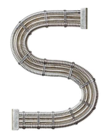 metallic letters: Industrial metal alphabet letter S