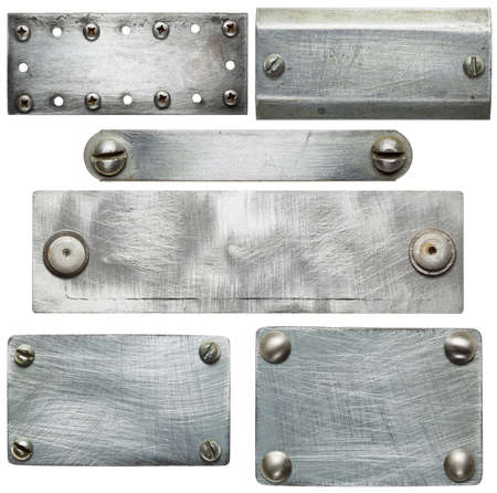 Metal plates with screws and rivets  Isolated textures photo