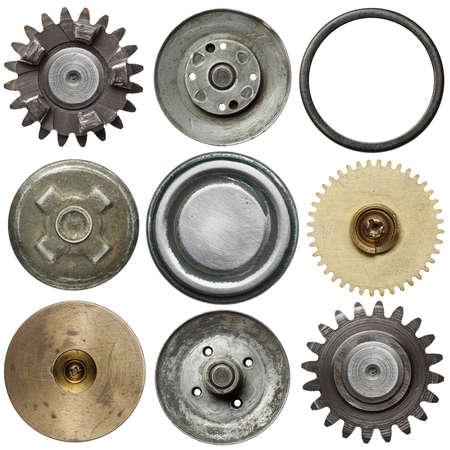 Objetos de metal redonda isolada no branco Banco de Imagens
