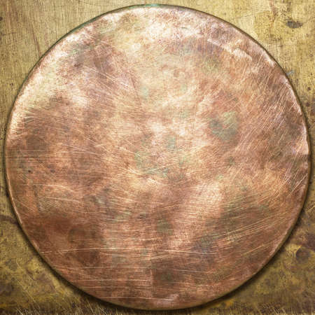 Round copper plate texture, old metal background  photo