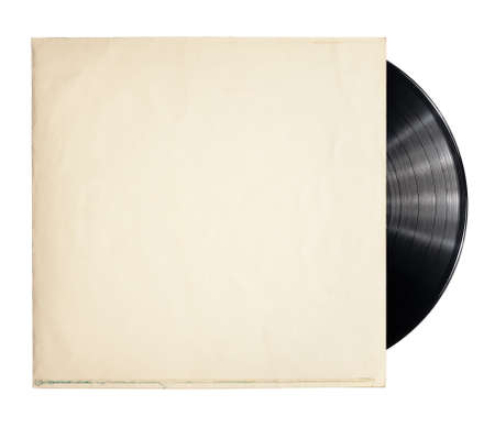 turntables: Old vinyl record in a paper case