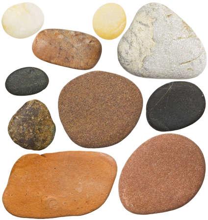 set in stone: Stones isolated on white background. Smooth sea rocks. Stock Photo
