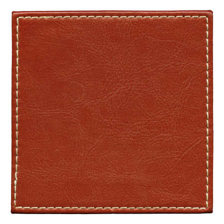 rough leather: Blank leather background with stitches, isolated  Stock Photo