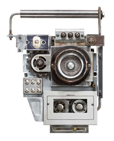 audio player: Tape recorder, audio player  Collage made of metal details