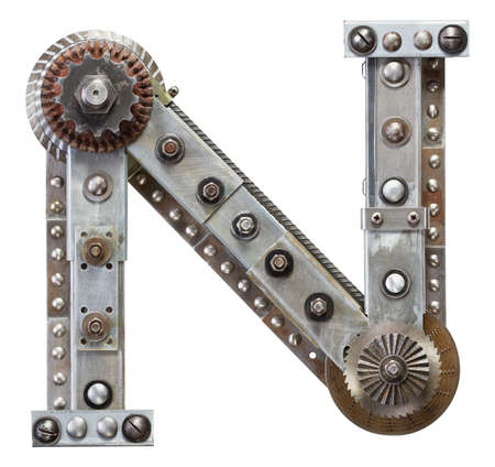 Industrial metal alphabet letter N photo