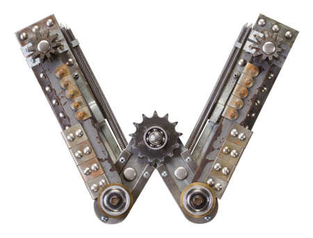 Industrial metal alphabet letter W