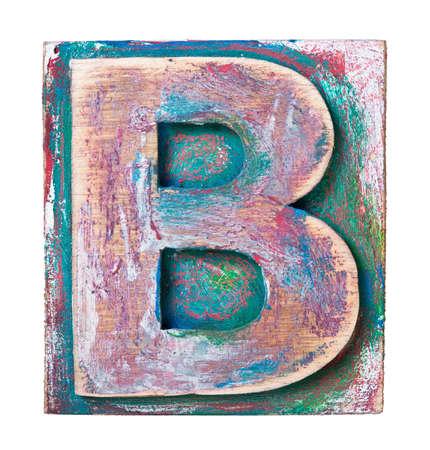 letterpress blocks: Wooden alphabet block, letter B