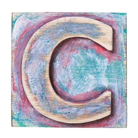 letterpress blocks: Wooden alphabet block, letter C