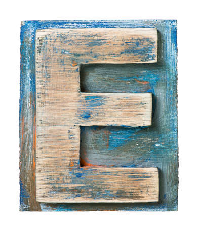 Wooden alphabet block, letter E photo