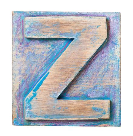 letterpress blocks: Wooden alphabet block, letter Z Stock Photo