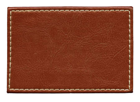 rough leather: Blank leather background with stitches, isolated. Stock Photo