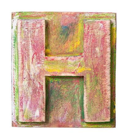 printing block: Wooden alphabet block, letter H