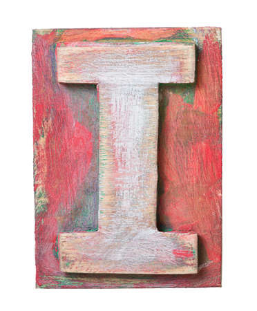 letterpress letters: Wooden alphabet block, letter I Stock Photo