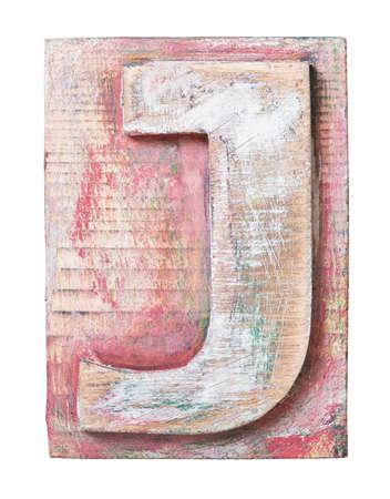 letterpress blocks: Wooden alphabet block, letter J