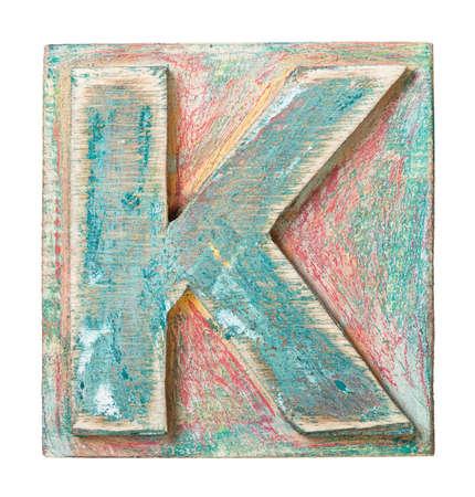 letterpress type: Wooden alphabet block, letter K